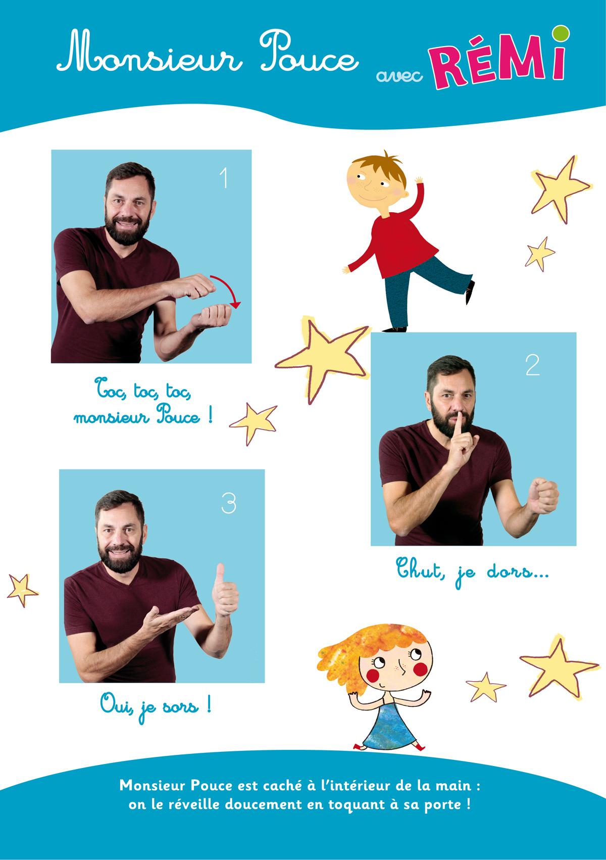 Monsieur Pouce toc toc comptine geste
